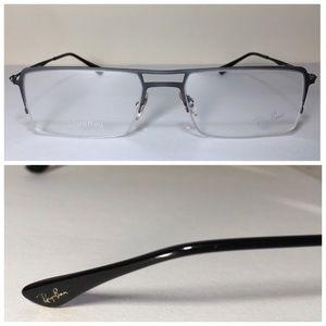 Ray-Ban Rectangular Silver Metal Eyeglasses NWOT